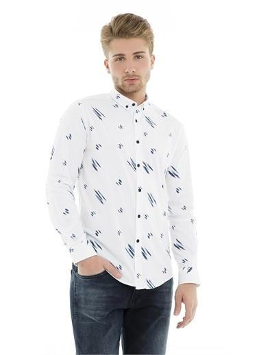 Cazador Cazador Erkek Uzun Kollu Baskılı Gömlek 2110 19YCEEDS2110015 Beyaz